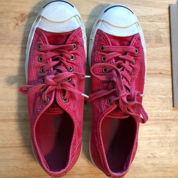 0e2c8466adeff Light red Jack Purcell Converse tennis shoes
